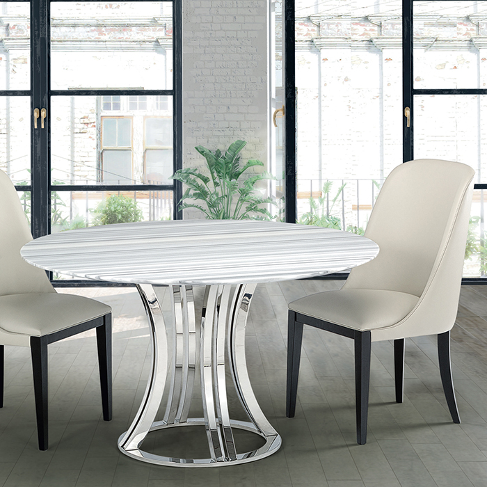 Aroma Striped Stone Round Marble Dining Table