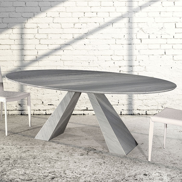 outlet store a2224 998be Barcelona Imperial Grey Oval Marble Dining Table