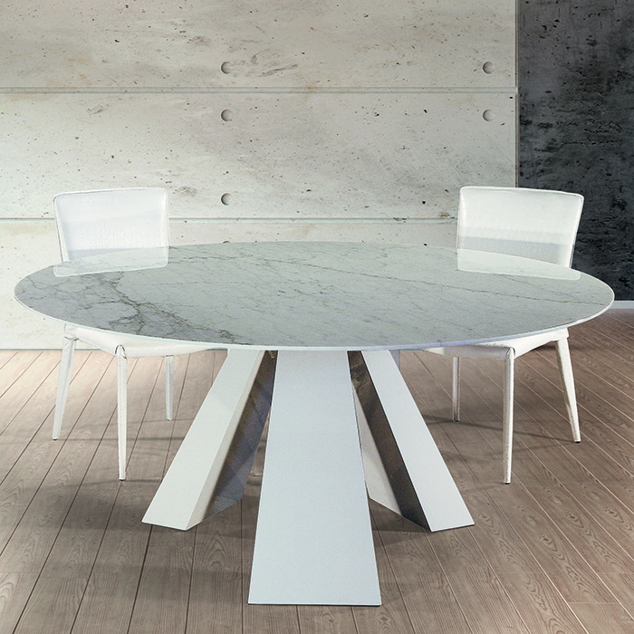 Barcelona Cortina White Marble Round Dining Table