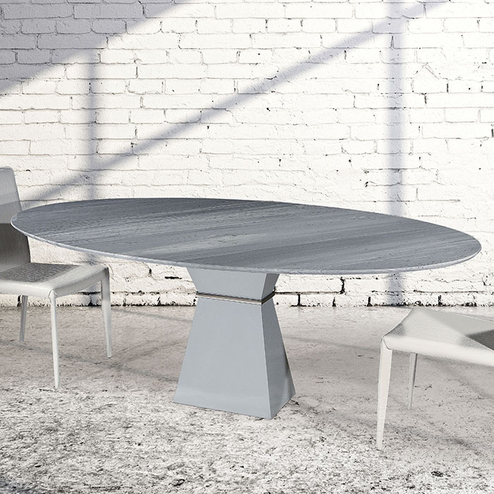 Clara Imperial Grey Marble Oval Dining Table