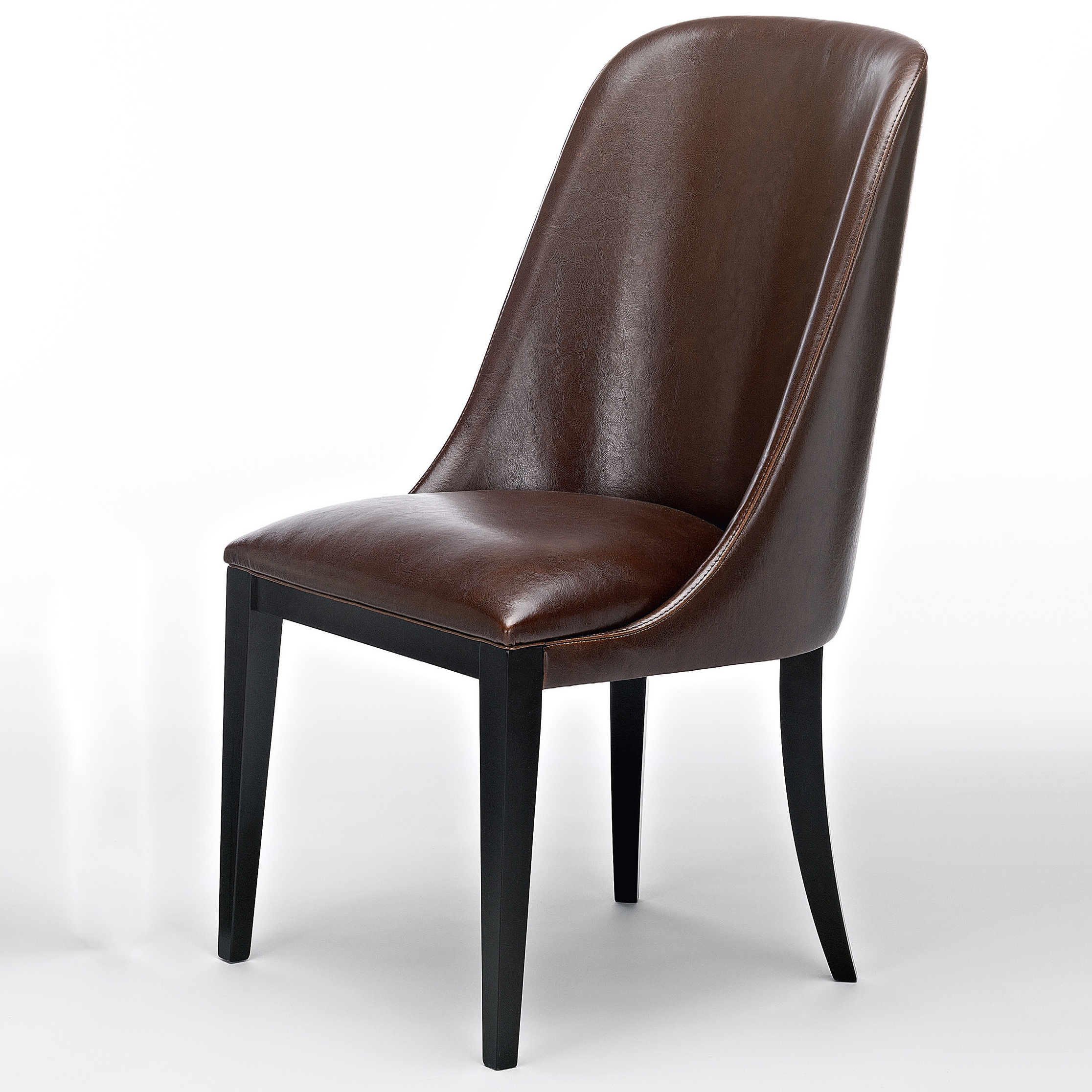 Flamingo dark brown leather dining chairs