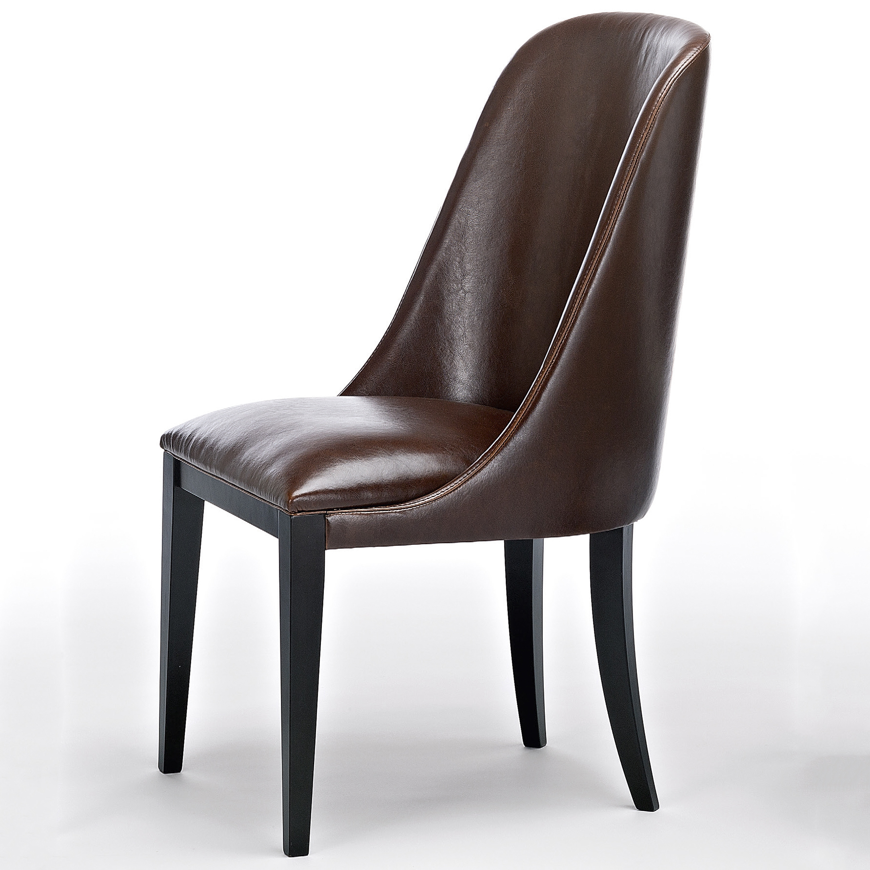 Flamingo dark brown leather dining chairs robson furniture for Brown leather dining room chairs