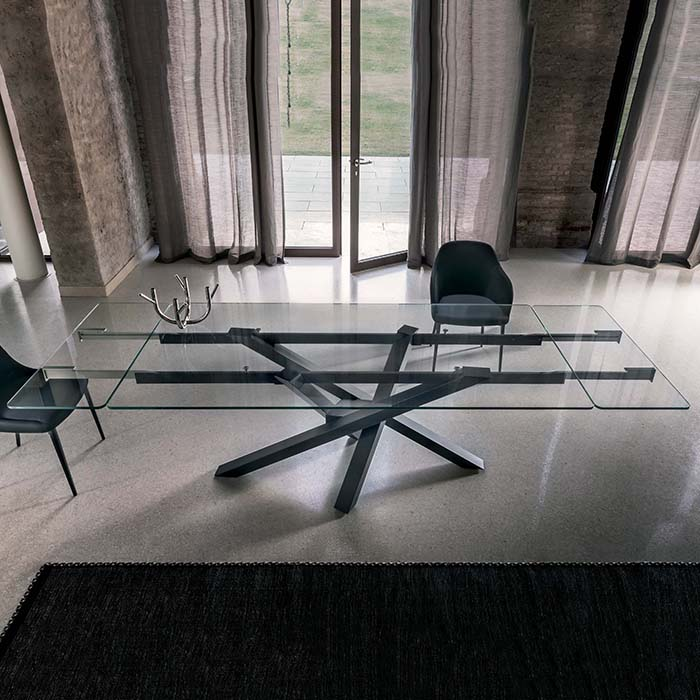 Singapore Large Glass Extending Dining Table