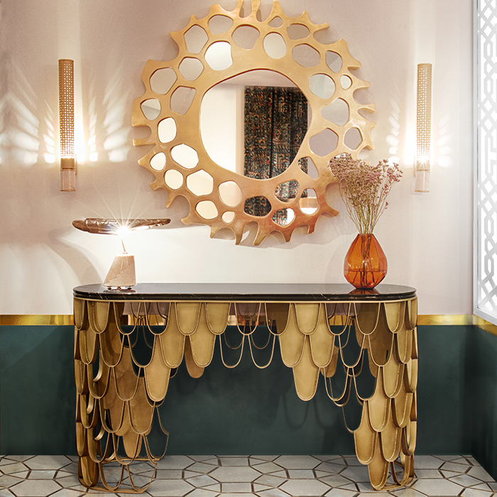 Kira Luxury Gold Console Table Robson Furniture