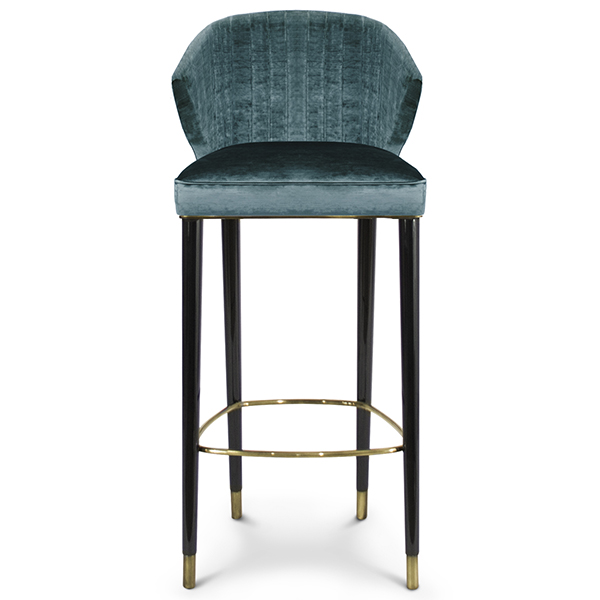 Nico Velvet Fabric Tall Bar Stool Robson Furniture