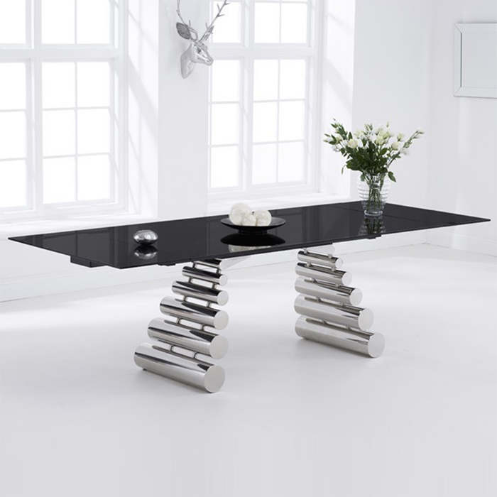 Forte Black Glass Extending Dining Table Robson Furniture