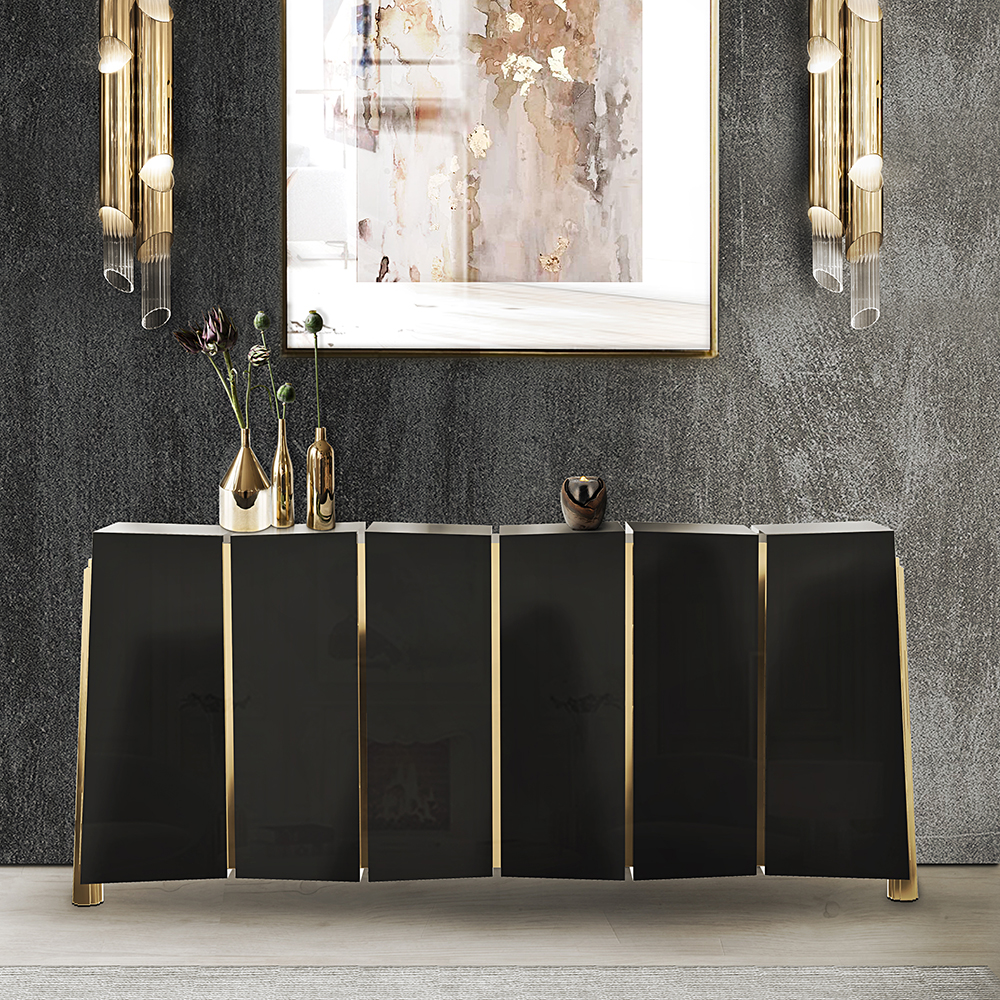 Dallas darian luxury black gold sideboard
